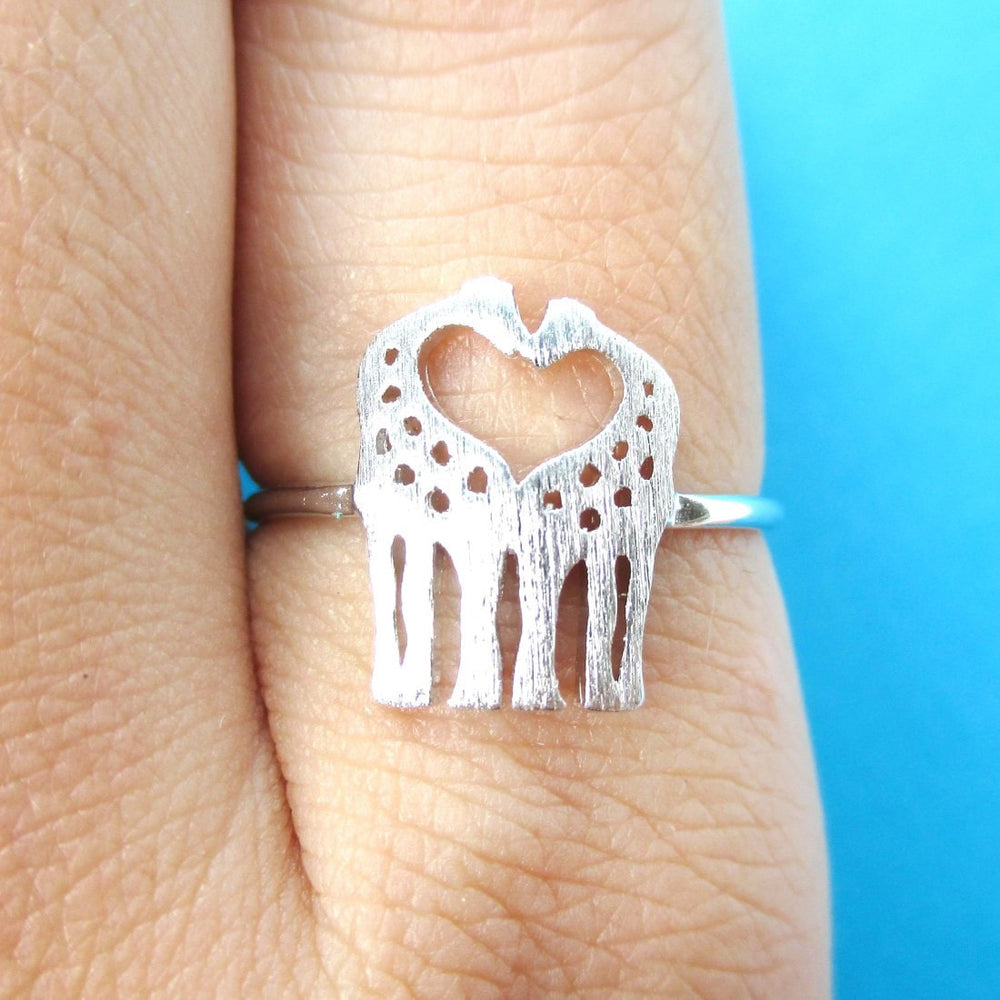 Kissing Giraffe Silhouette Shaped Animal Ring in Silver | US Size 6