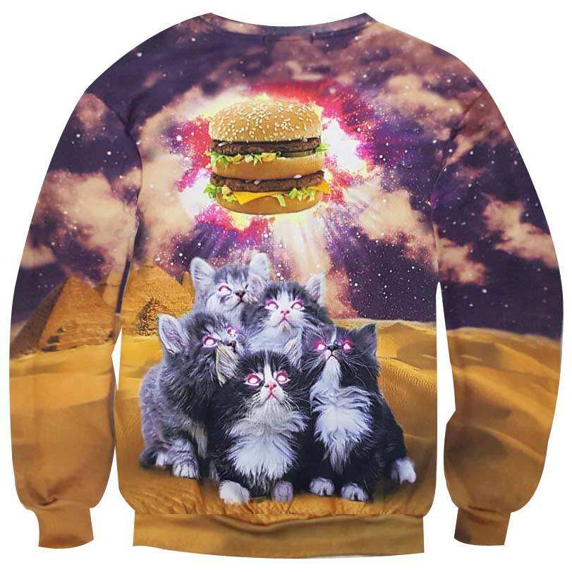 Kittens Hypnotized by a Burger All Over Digital Print Sweatshirt