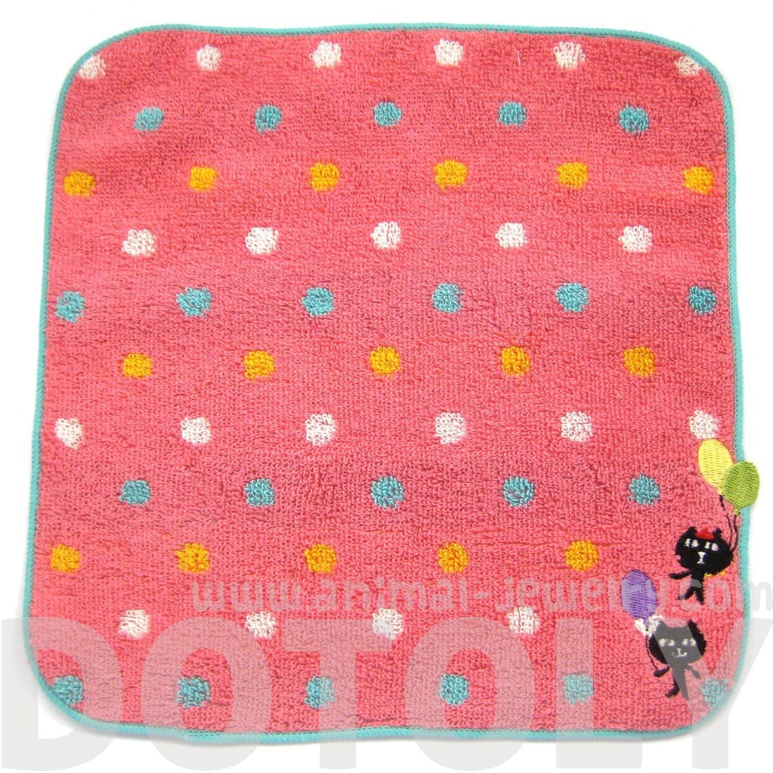 Kitty Cat and Balloon Embroidered Polka Dotted Face Towel in Dark Pink