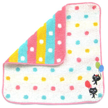 Kitty Cat and Balloons Embroidered Polka Dotted Face Towel in White