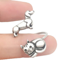 Kitty Cat and Dachshund Puppy Adjustable Wire Wrap Ring | DOTOLY