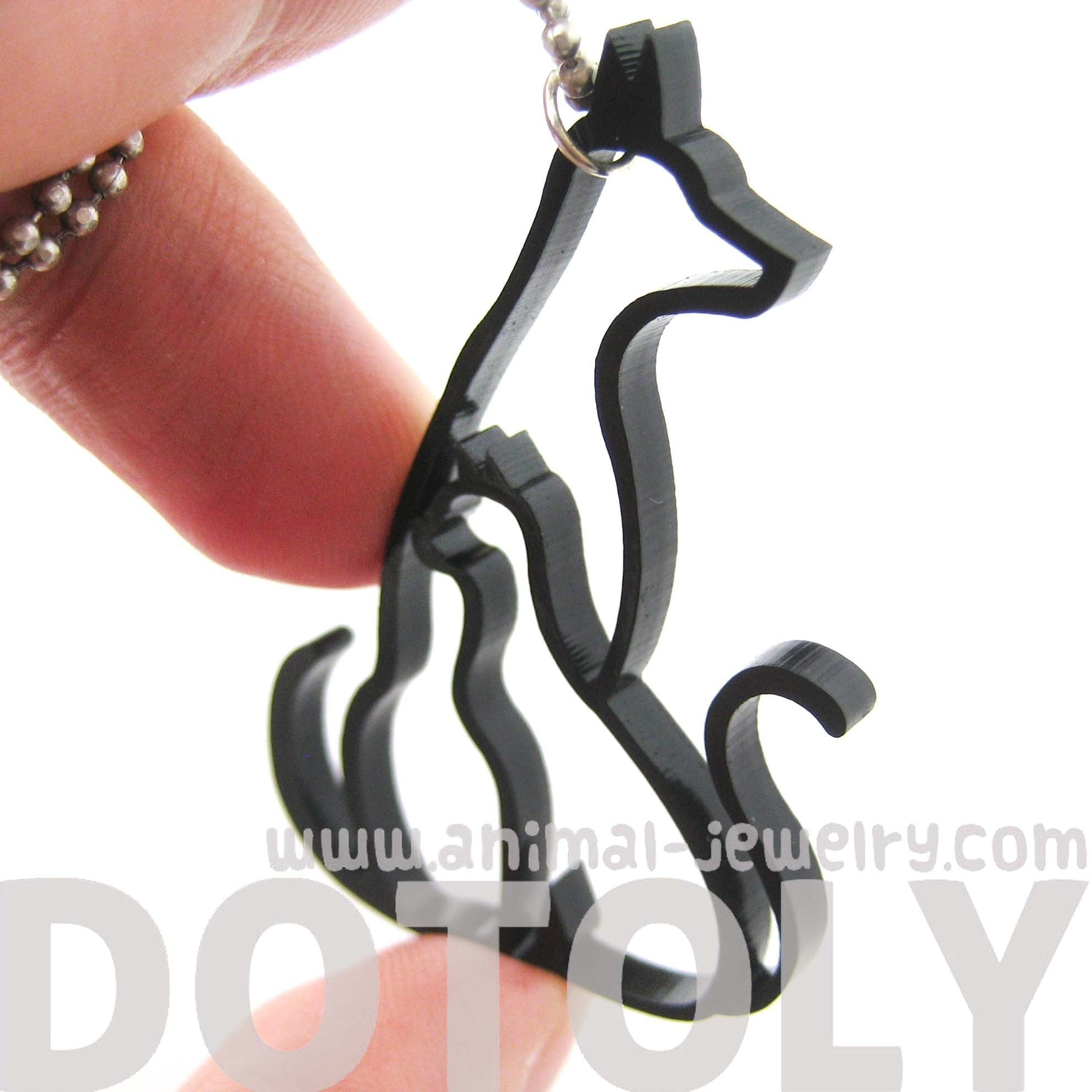 Kitty Cat and Dog Outline Shaped Animal Themed Pendant Necklace
