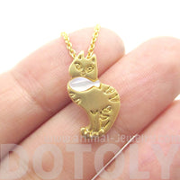 Kitty Cat and Fish Shaped Animal Themed Pendant Necklace in Gold | DOTOLY