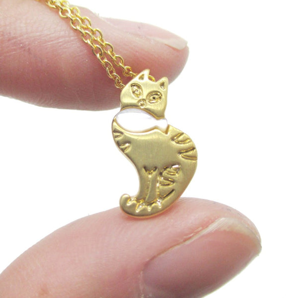 Kitty Cat and Fish Shaped Pendant Necklace in Gold