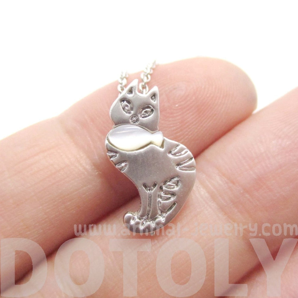 Kitty Cat and Fish Shaped Pendant Necklace in Silver