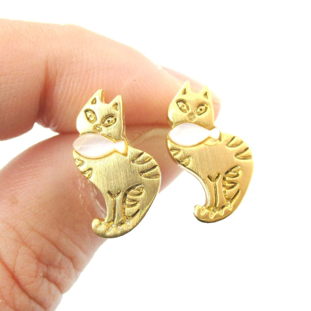 Kitty Cat and Fish Animal Themed Stud Earrings in Gold