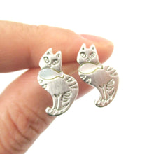 Kitty Cat and Fish Animal Shape Stud Earrings in Silver