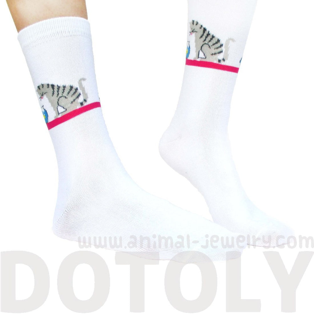 Kitty Cat and Goldfish Bowl Novelty Print Calf High Socks in White