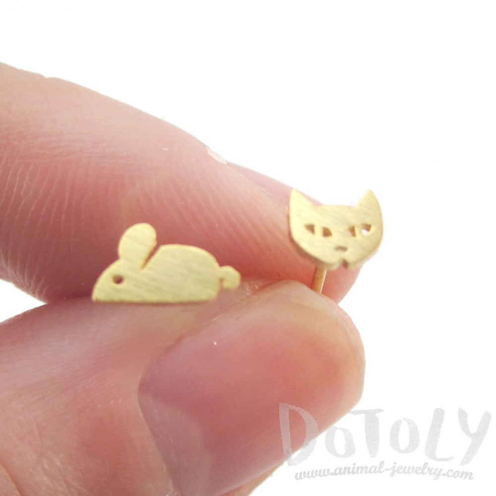 Kitty Cat and Mouse Shaped Allergy Free Stud Earrings in Gold | DOTOLY