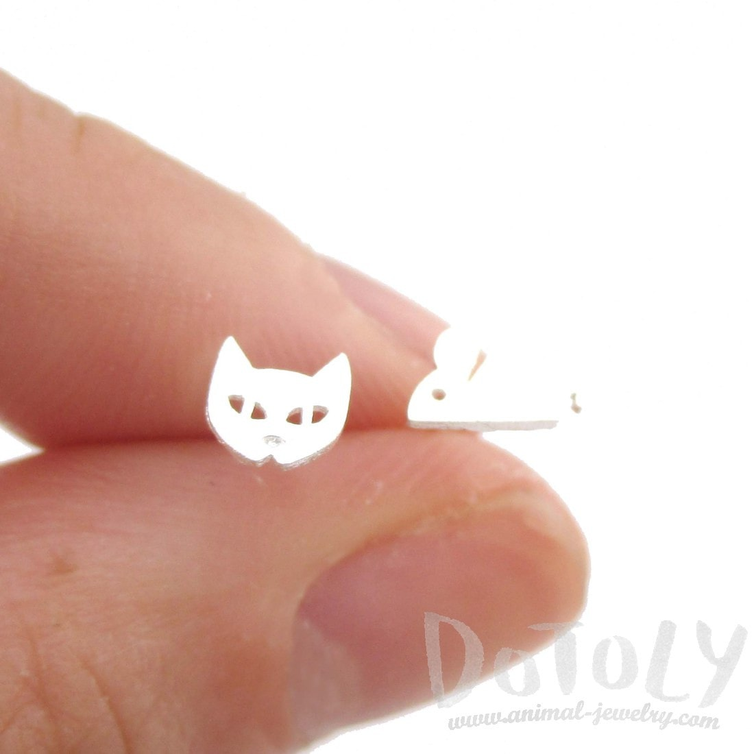 Kitty Cat and Mouse Shaped Allergy Free Stud Earrings in Silver