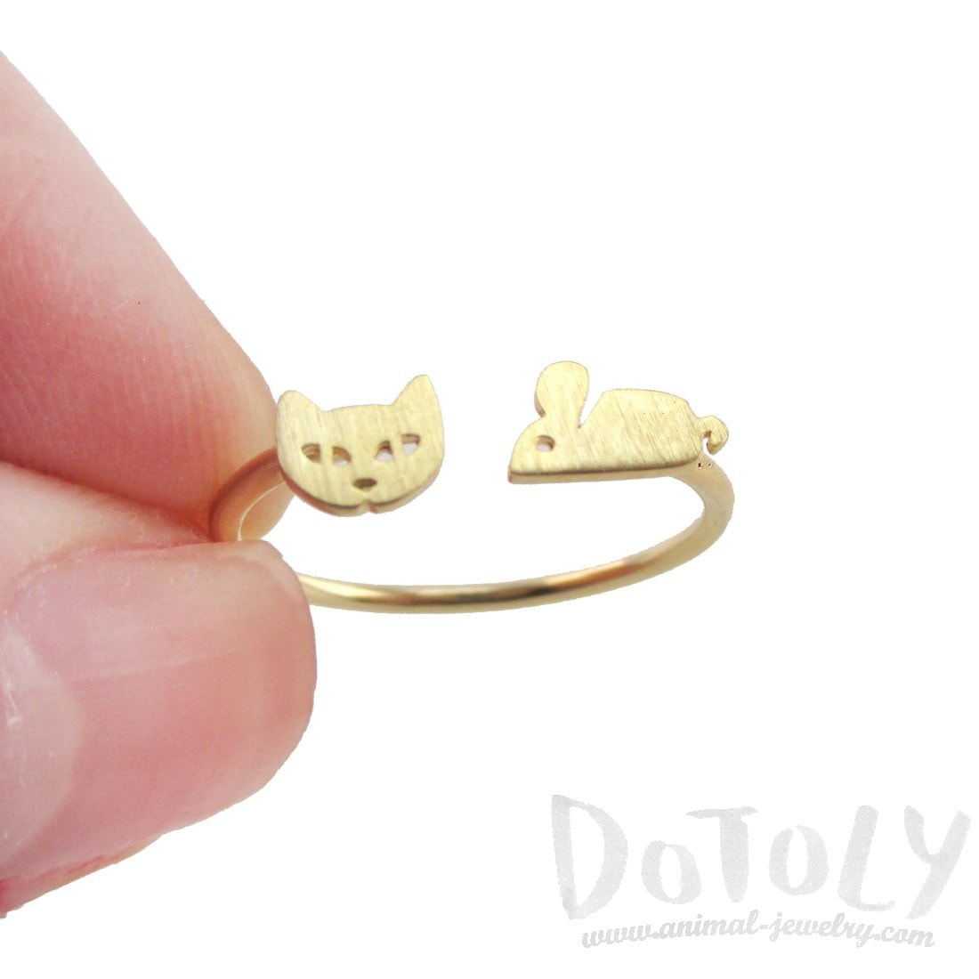 Kitty Cat and Mouse Shaped Open Adjustable Ring in Gold | DOTOLY