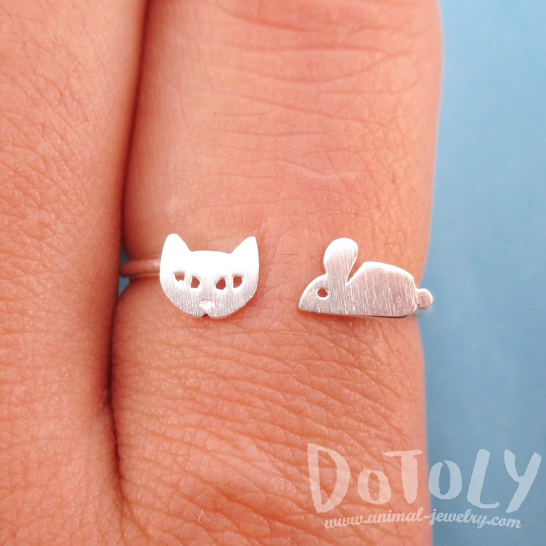 Kitty Cat and Mouse Shaped Open Adjustable Ring in Silver | DOTOLY