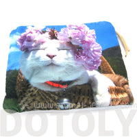 Kitty Cat and Purple Flowers Digital Photo Print Animal Coin Purse Make Up Bag | DOTOLY