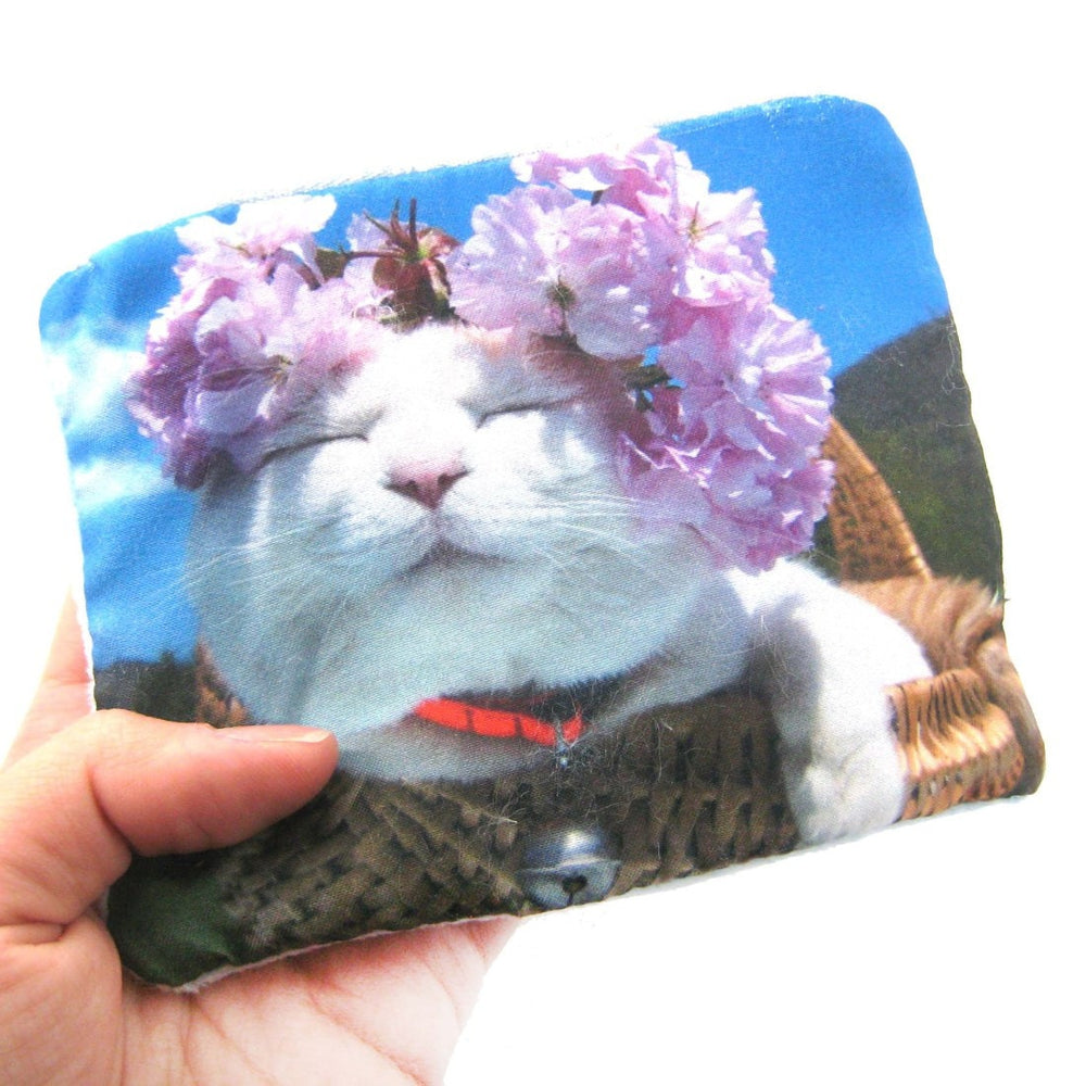 Kitty Cat Purple Flowers Digital Photo Print Coin Purse Make Up Bag