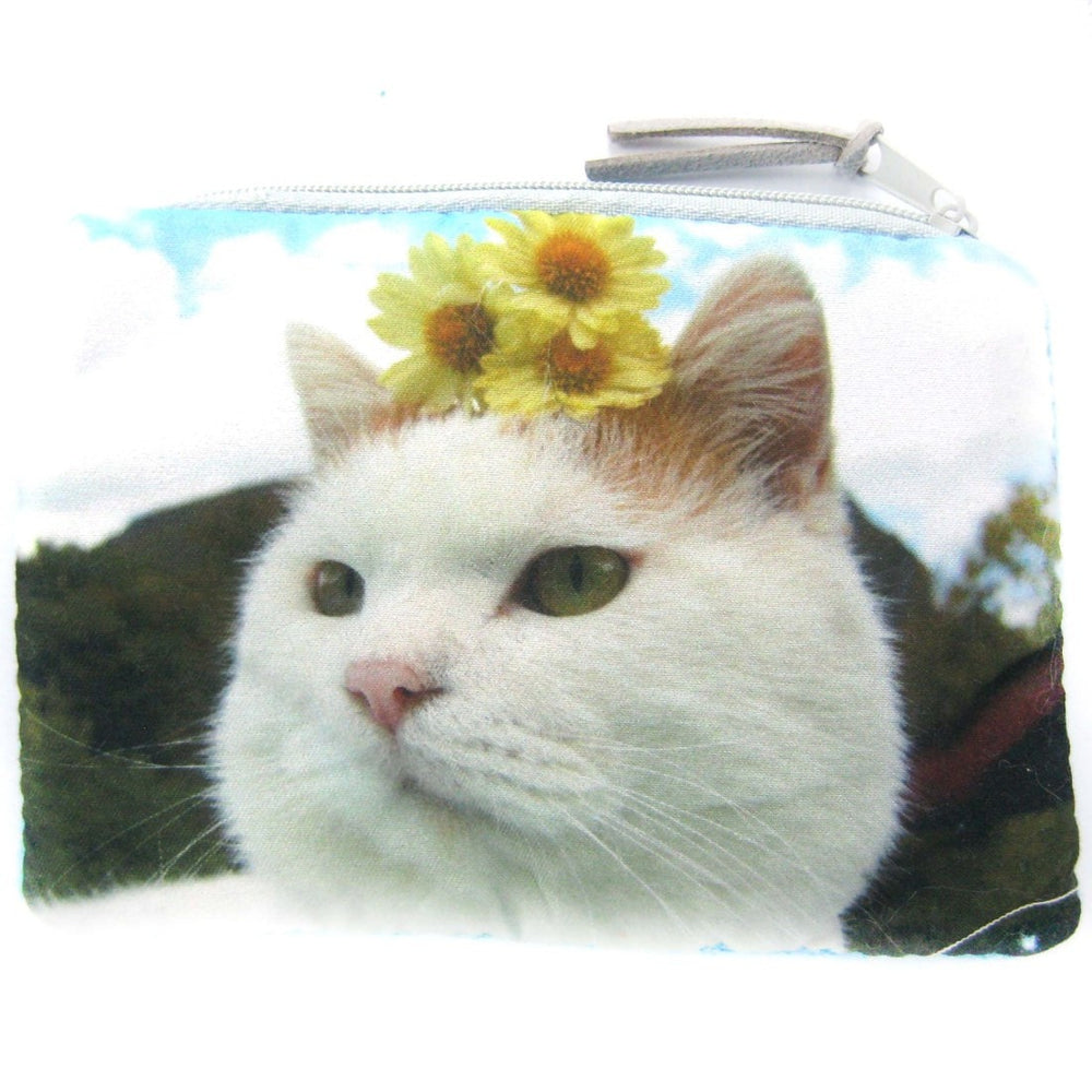 Kitty Cat and Sunflowers Digital Photo Print Coin Purse Make Up Bag