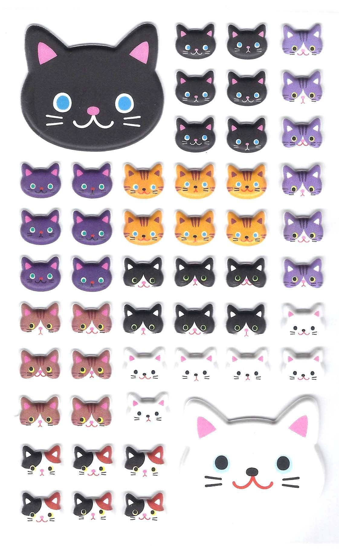 Kitty Cat Animal Themed Puffy Stickers for Scrapbooking and Decorating