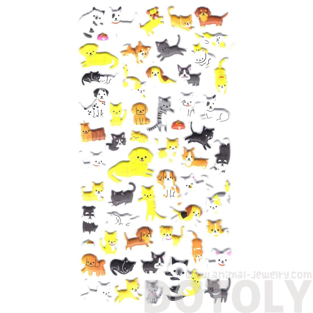 Kitty Cat Bull Terrier Corgi Dog Shaped Animal Themed Puffy Stickers