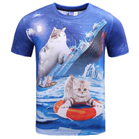 Kitty Cat Chilling on the Titanic Photoshopped Graphic Print T-Shirt | DOTOLY