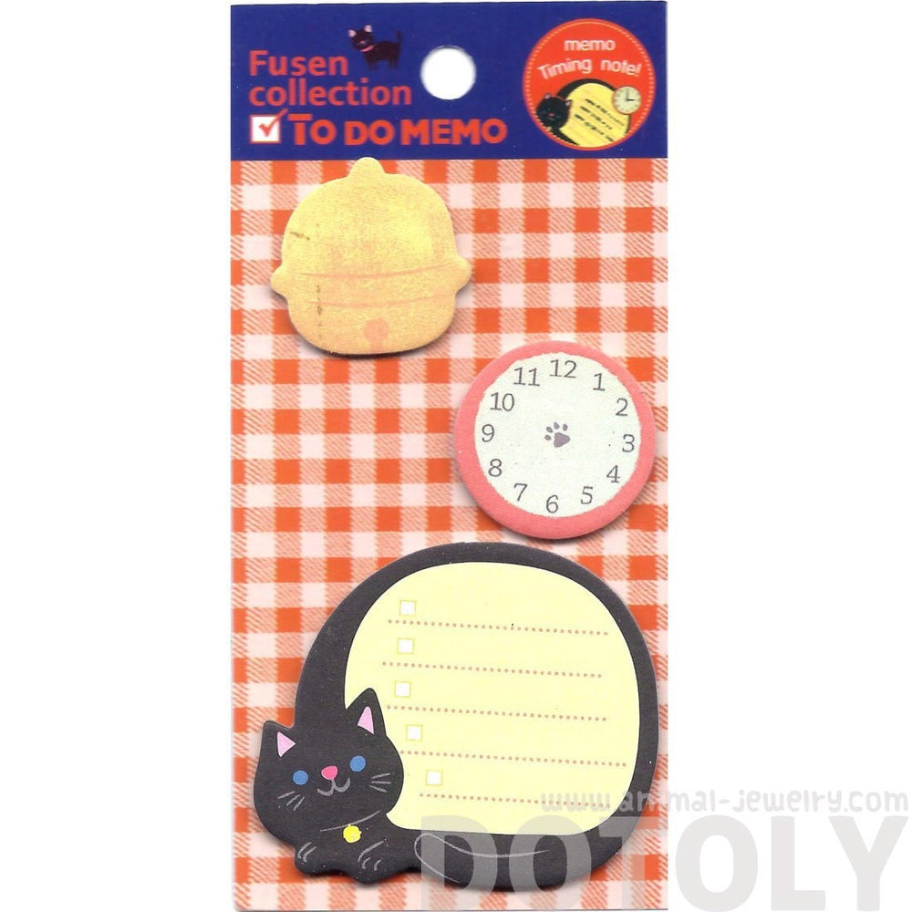 Kitty Cat Clock and Bell Shaped To Do Checklist Post-it Memo Pad