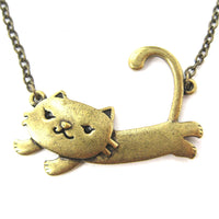 Kitty Cat Cute Animal Pendant Necklace in Brass | Animal Jewelry | DOTOLY