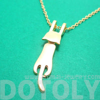Kitty Cat Dangling Off Chain Pendant Necklace in Gold