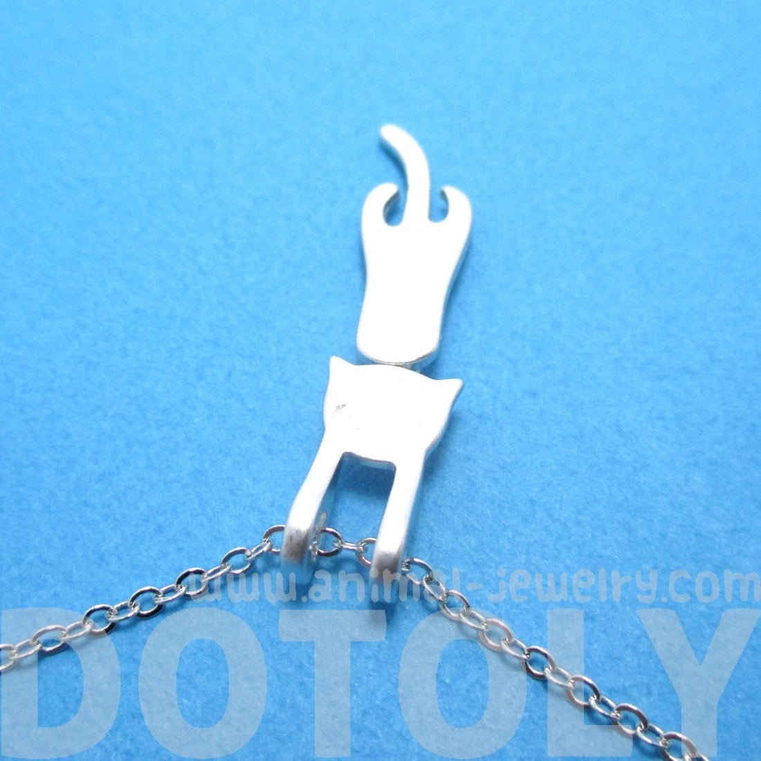 Kitty Cat Dangling Off Chain Pendant Necklace in Silver