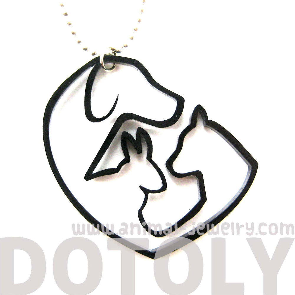 Kitty Cat, Dog and Bunny Silhouette Shaped Pet Animal Themed Necklace in Black Acrylic | DOTOLY