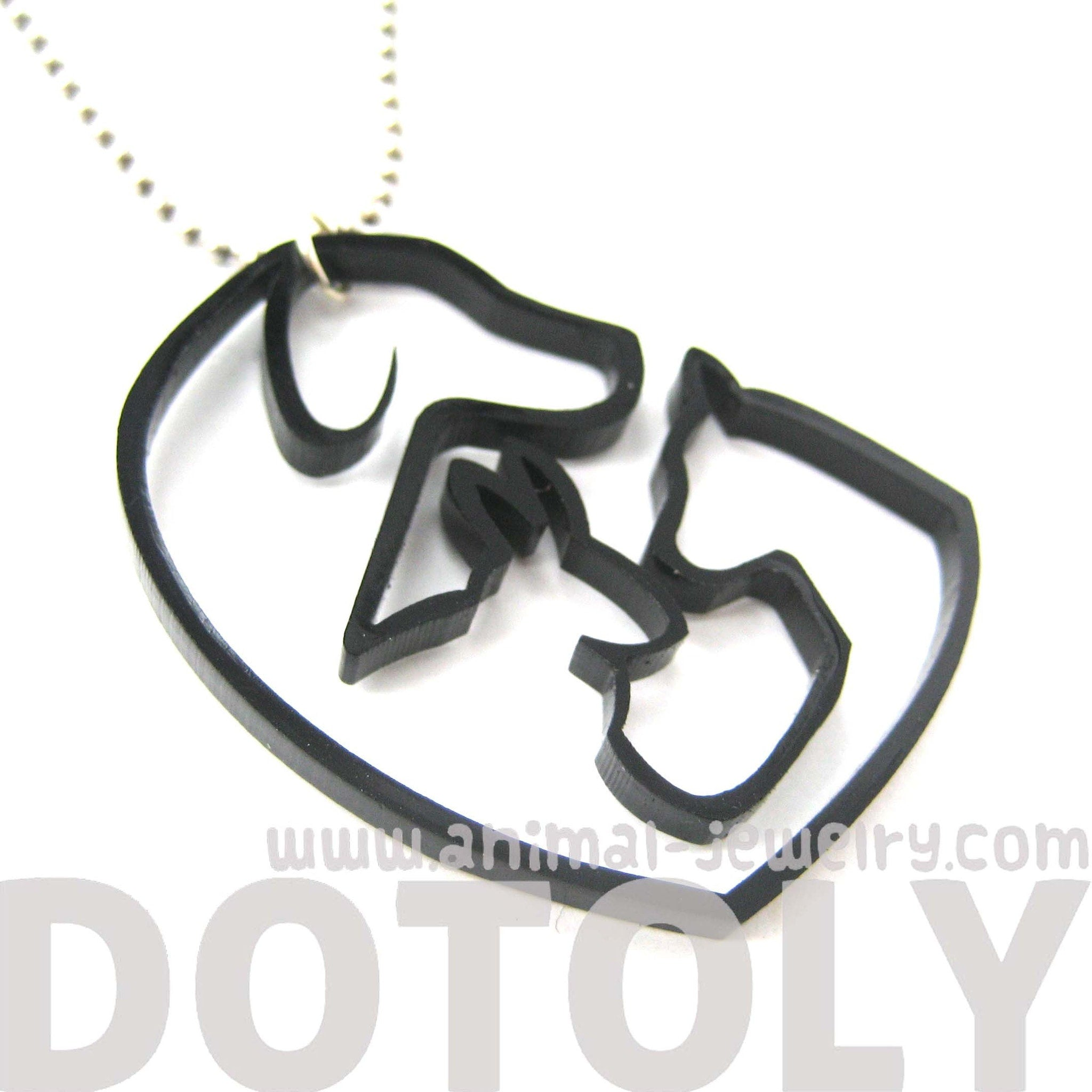 Kitty Cat, Dog and Bunny Silhouette Shaped Pet Animal Themed Necklace in Black Acrylic