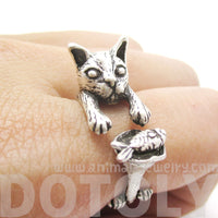 Kitty Cat Eating Fish Shaped Animal Wrap Ring in Silver