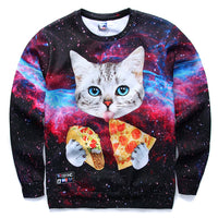 What's better than a beautiful space print sweater? A sweater featuring a kitty cat eating tacos and pizza in space! This cat sure knows how to enjoy life!