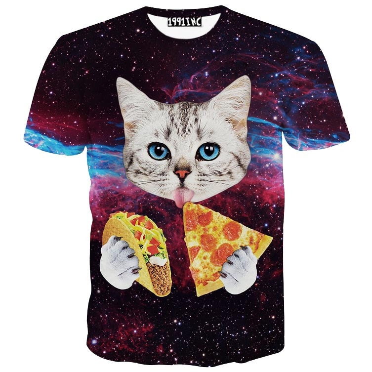 Kitty Cat Eating Tacos and Pizza in Space Universe All Over Print T-Shirt | DOTOLY
