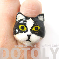 Kitty Cat Enamel Animal Ring in Black and White US Size 6 | Limited Edition | DOTOLY