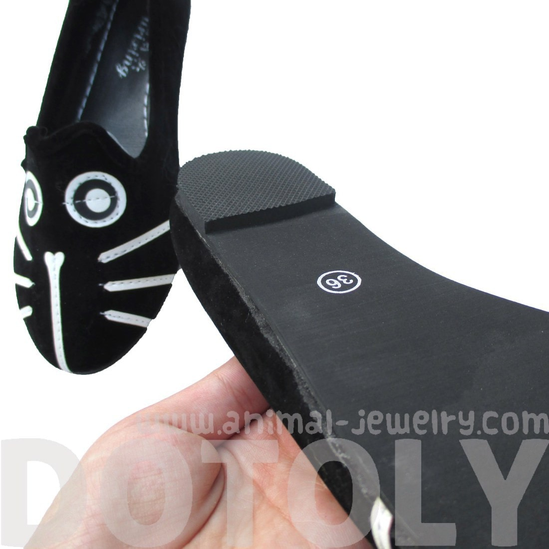 Kitty Cat Animal Themed Embroidered Ballet Flats for Women in Black