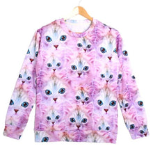 Kitty Cat Collage Graphic Print Pullover Sweatshirt Sweater in Pink