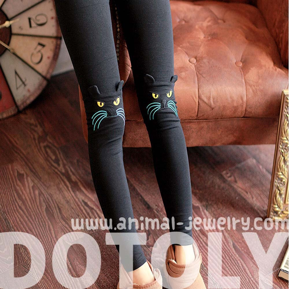 Kitty Cat Face Embroidered Knee Detail Animal Leggings In