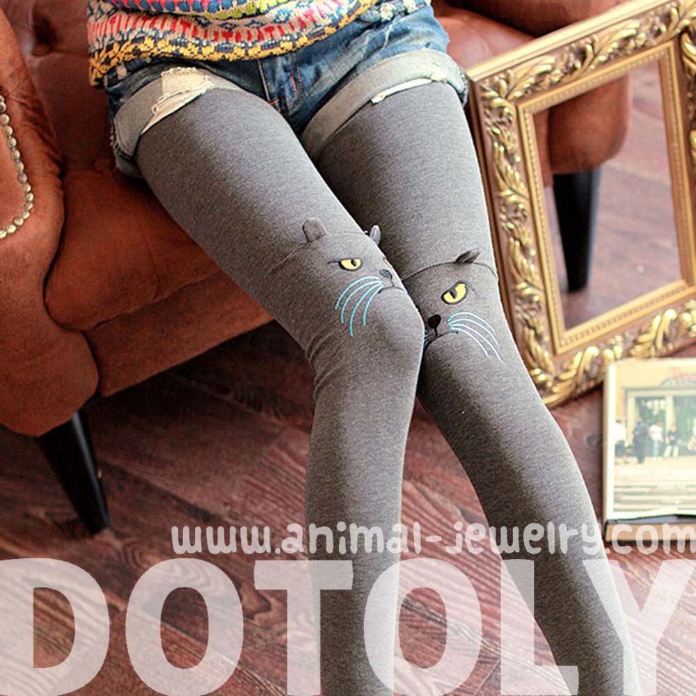 kitty-cat-face-embroidered-knee-detail-animal-themed-leggings-in-dark-grey