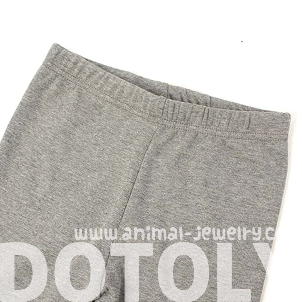 Kitty Cat Face Embroidered Knee Detail Animal Leggings in Light Grey