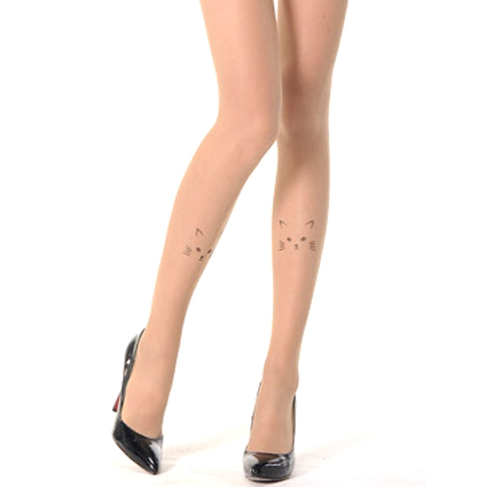 Kitty Cat Face Knee Detail Sheer Nude Tattoo Tights for Women