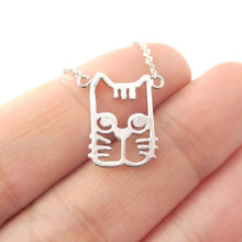 Silver Kitty Cat Face Shaped Cut Out Pendant Necklace