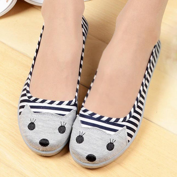 Kitty Cat Animal Face Stripe Wedge Ballet Flats in Navy Blue for Women