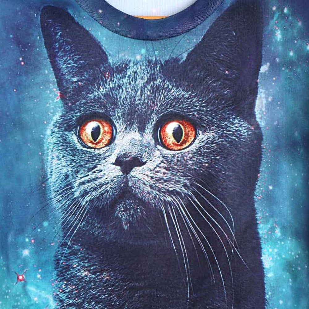 Kitty Cat Face Universe Space Graphic Print Pullover Sweater in Blue