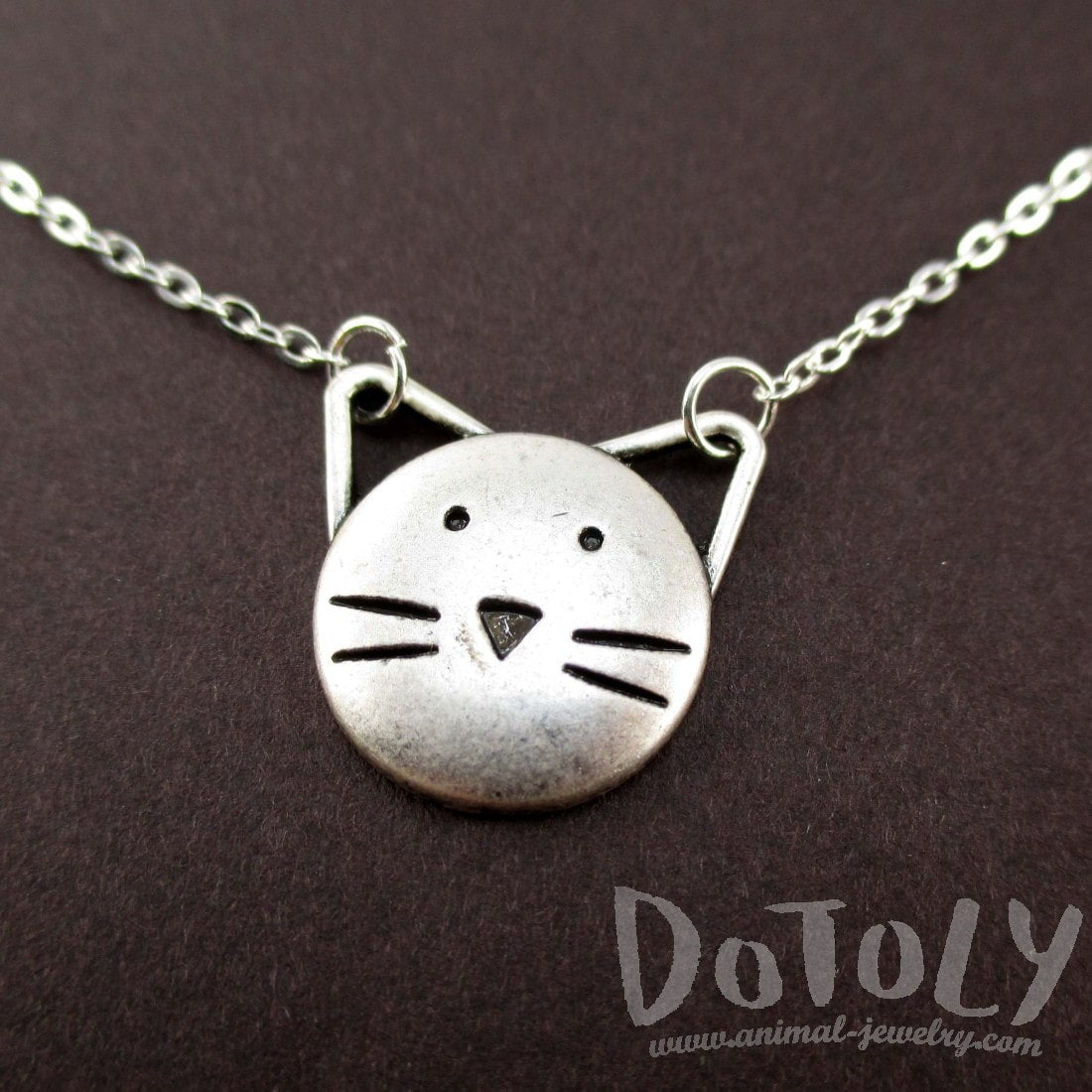 Kitty Cat Face with Pointy Ears Shaped Pendant Necklace | DOTOLY