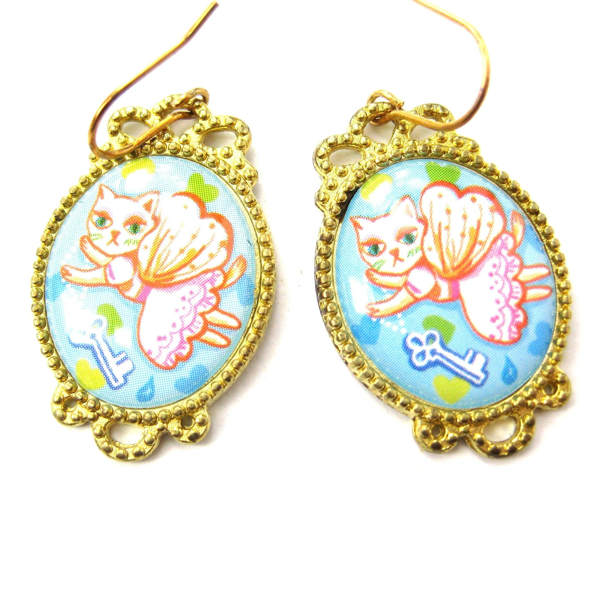 Kitty Cat Fairy Princess Illustrated Dangle Earrings | Animal Jewelry