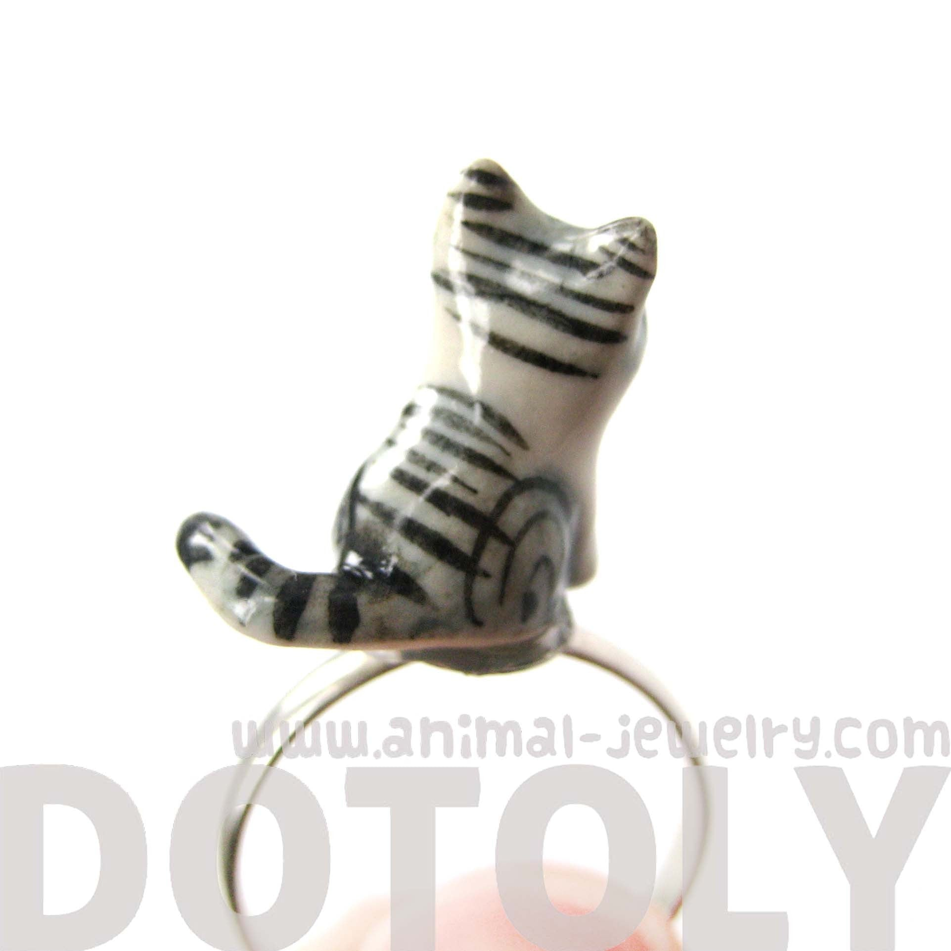 kitty-cat-grey-and-black-striped-porcelain-ceramic-animal-adjustable-ring-handmade
