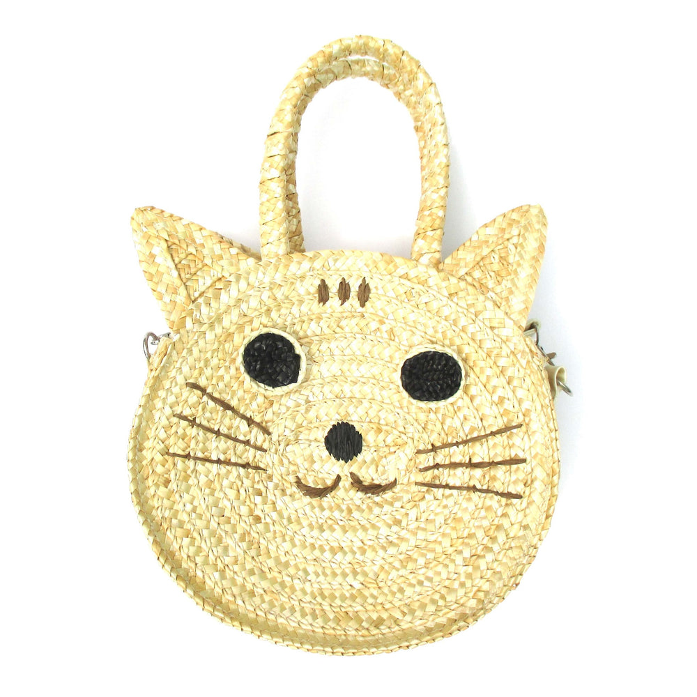 Kitty Cat Head Face Shaped Straw Woven X Body Shoulder Bag for Women