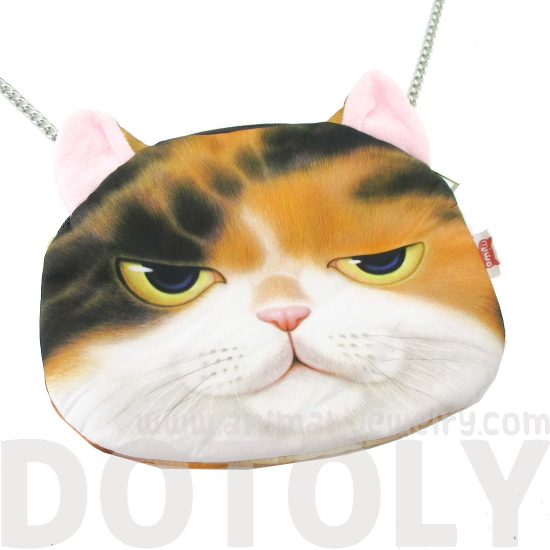 Kitty Cat Head Shaped Graphic Print Cross Body Bag