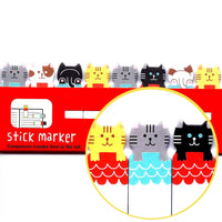 Kitty Cat Illustrated Animal Themed Memo Post-it Index Tab Sticky Bookmarks