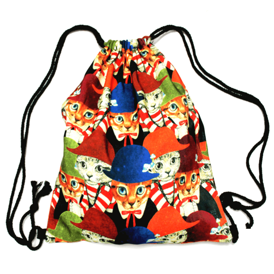 Kitty Cat in a Bowler Hat Animal Collage Print Drawstring Backpack Bag