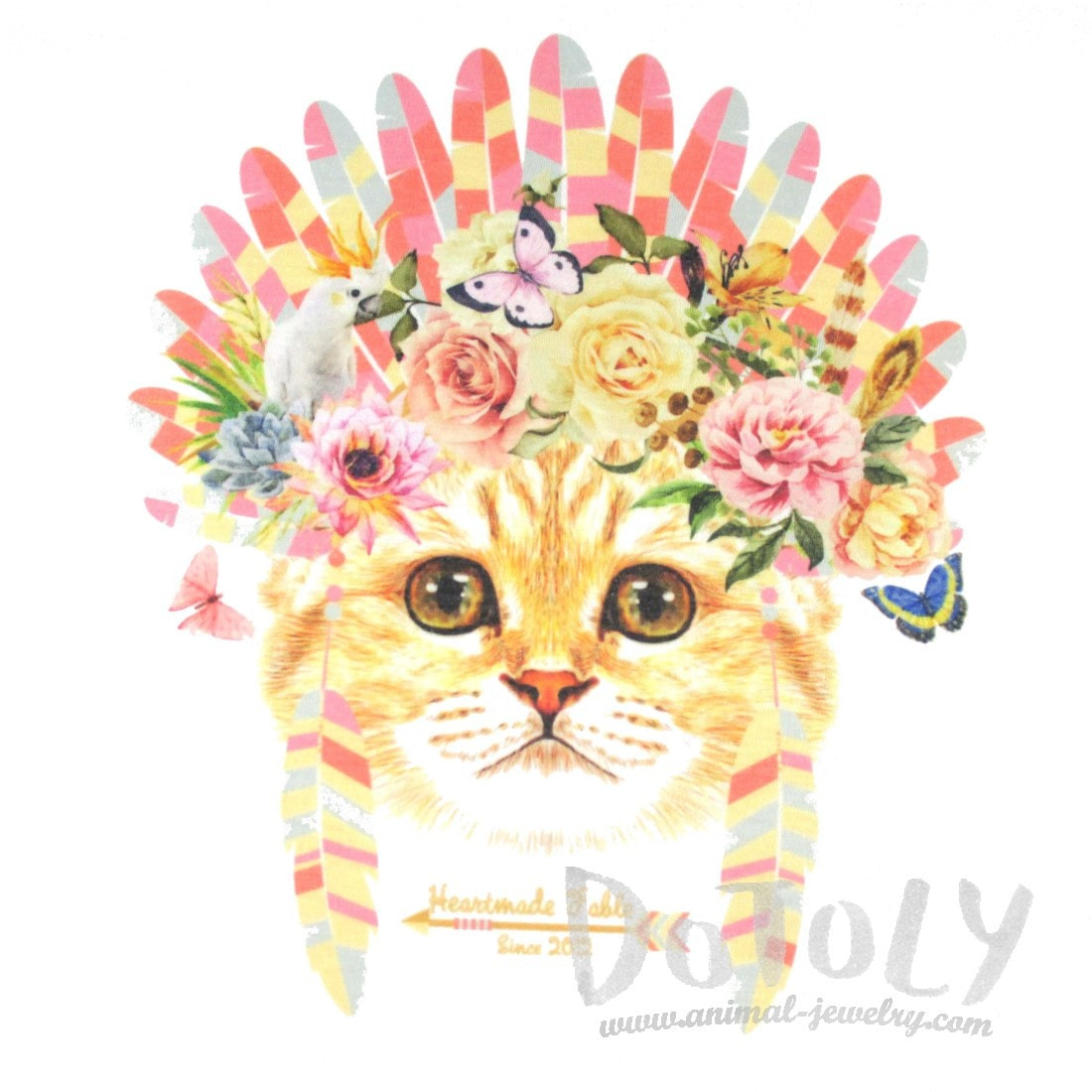 Kitty Cat in a Floral Feather Headdress Graphic Print Tee T-Shirt