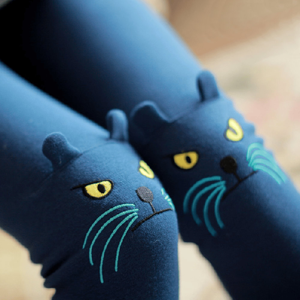 Kitty Cat Knee Embroidered Detail Animal Themed Leggings in Dark Blue | DOTOLY